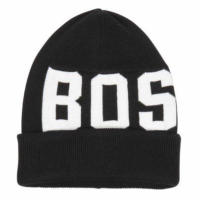 Hugo boss Berretto lavoraato a maglia in cotone nero e bianco