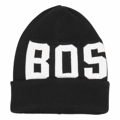 Hugo boss Black and white cotton intarsia knit beanie