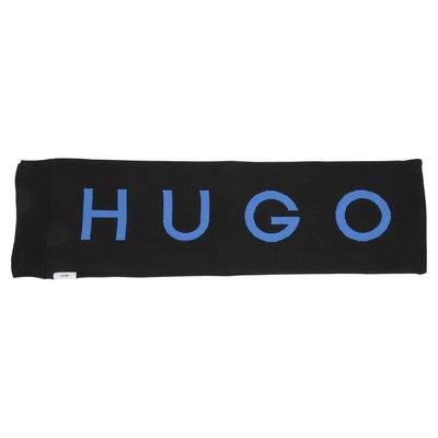 Sciarpa nera in maglia di cotone con logo