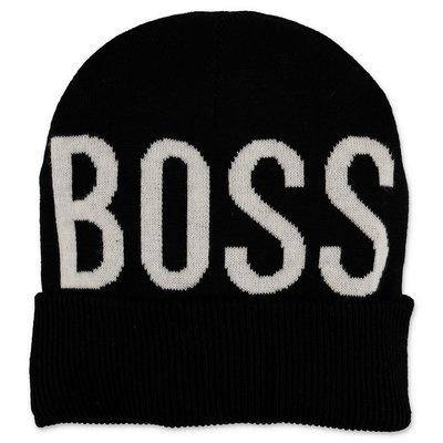 Hugo Boss berretto nero in maglia con logo