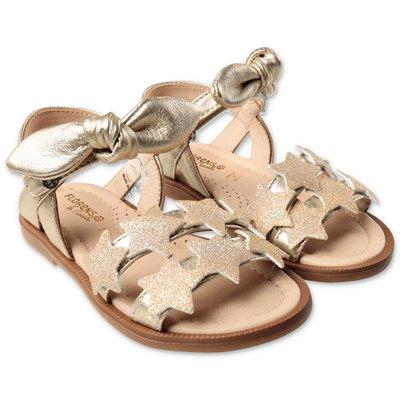FLORENS golden leather glittered sandals