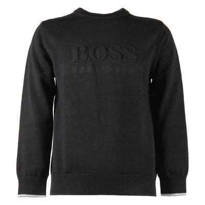 Pullover nero in maglia di cotone con logo
