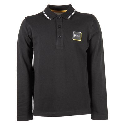 black boy cotton piquet logo detail polo shirt