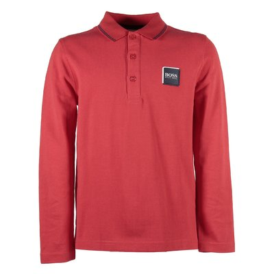 Red logo detail cotton piquet polo shirt
