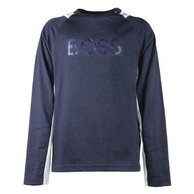 Navy blue logo cotton jersey t-shirt