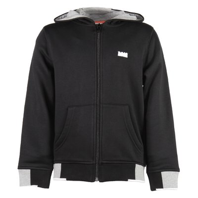 black cotton boy zip-up sweatshirt hoodie