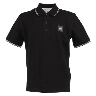 Black logo detail cotton piquet polo shirt