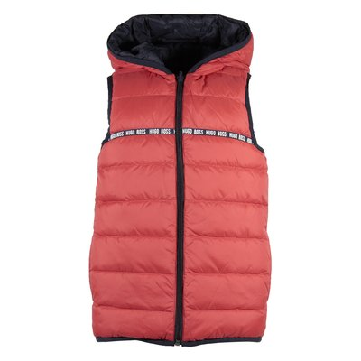 Red hooded down vest