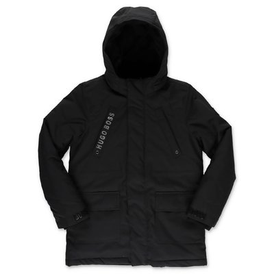 Hugo Boss black nylon padded parka jacket with hood