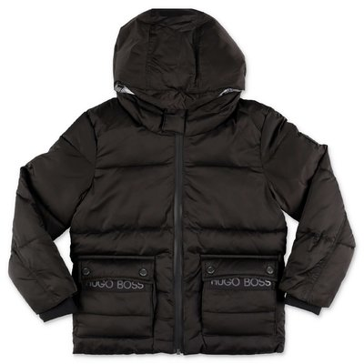 Hugo Boss black recycled nylon down jacket with hood