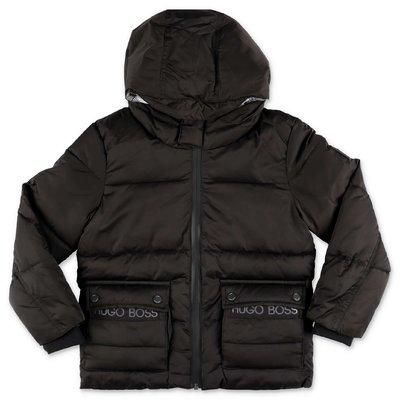 Hugo Boss piumino nero in nylon riciclato con cappuccio