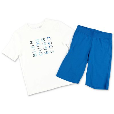 HUGO BOSS cotton set with white t-shirt and blue shorts