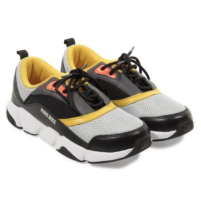 Sneakers in nabuk e tessuto a rete