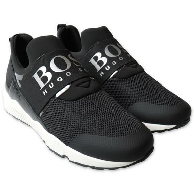 HUGO BOSS black breathable microfiber sneakers