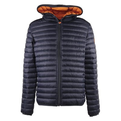 Blue quilted nylon padded jacket with hood