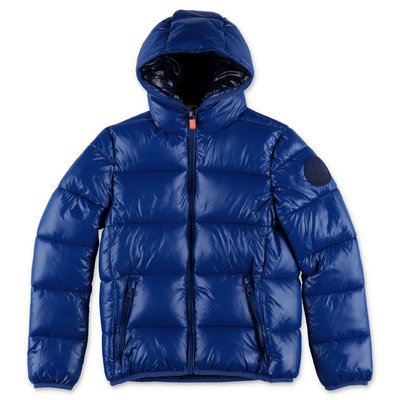 Save the Duck royal blue nylon down jacket with hood