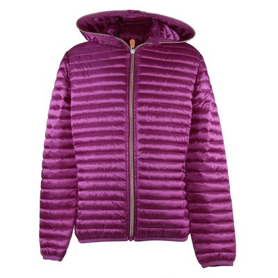 Fuchsia quilted nylon with hood