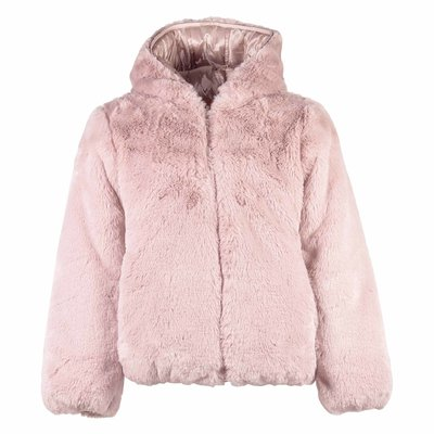 Pink reversible faux fur/down jacket with hood