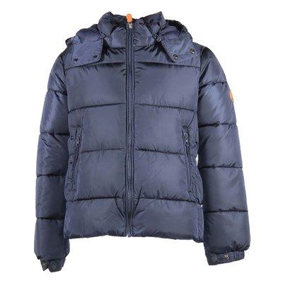 Blue nylon hooded down jacket