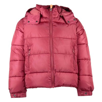 Red nylon hooded down jacket