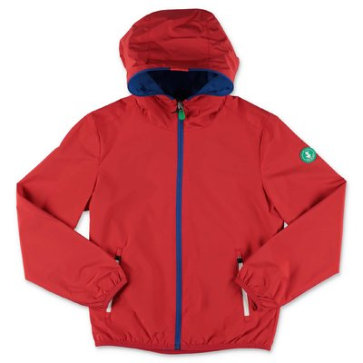 Save The Duck red nylon waterproof jacket with hood