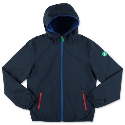 Save The Duck navy blue nylon waterproof jacket with hood
