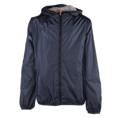 Blue nylon padded jacket with hood