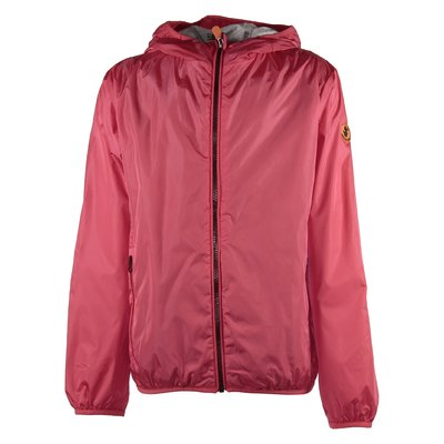 Red nylon padded jacket with hood