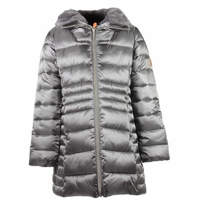 Metallic grey nylon hooded down jacket with faux fur detail