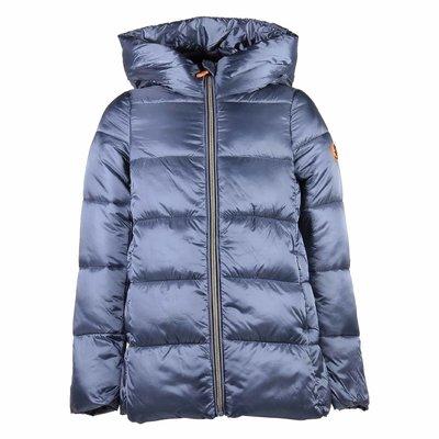Blue metallic nylon hooded down jacket