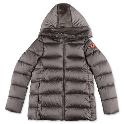 Save The Duck grey nylon down jacket with hood