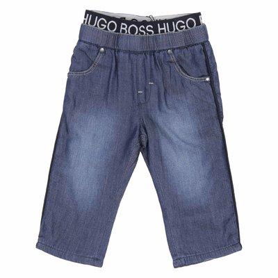 Jeans in denim di cotone con inserto logato