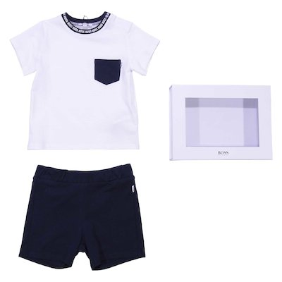 Cotton jersey set with white t-shirt & blue shorts