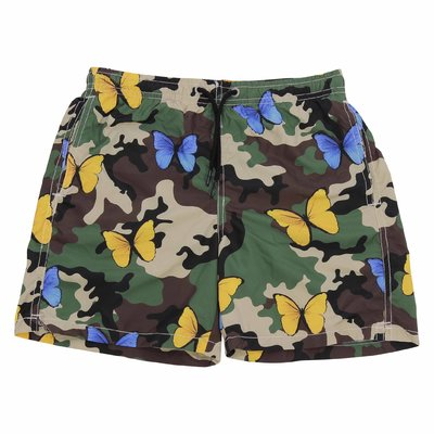 Camouflage nylon swim shorts with butterflies