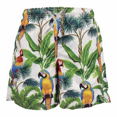 Costume shorts da mare bianchi tema jungle in nylon