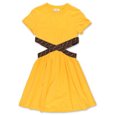 FENDI yellow zucca print detail cotton jersey t-shirt dress