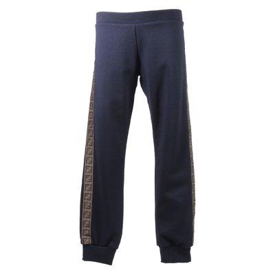 Pantaloni blu in felpa di cotone con dettaglio logo