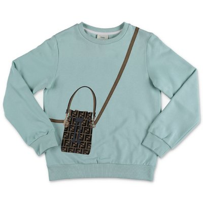 FENDI light green zucca print detail cotton sweatshirt