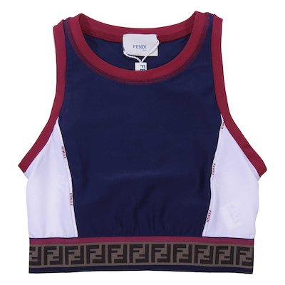 Logo jacquard color block lycra top
