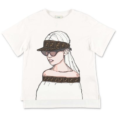 FENDI white cotton jersey t-shirt