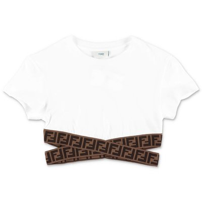 FENDI white zucca print detail cotton jersey top