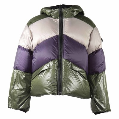Color block nylon hooded down jacket