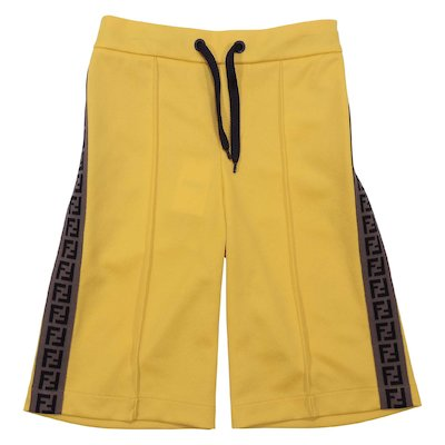 Yellow cotton blend shorts with jacquard logo bands