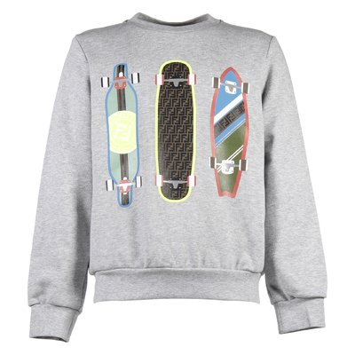 Heather grey skateboard print cotton sweatshirt