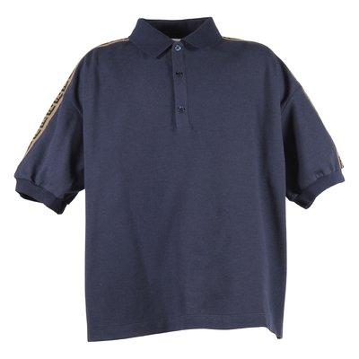 polo blu in piquet di cotone ragazzo