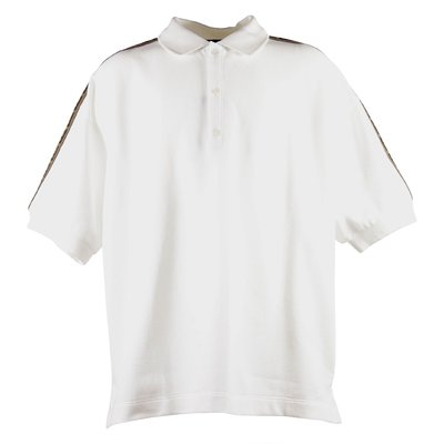 White jacquard logo detail cotton piquet polo shirt