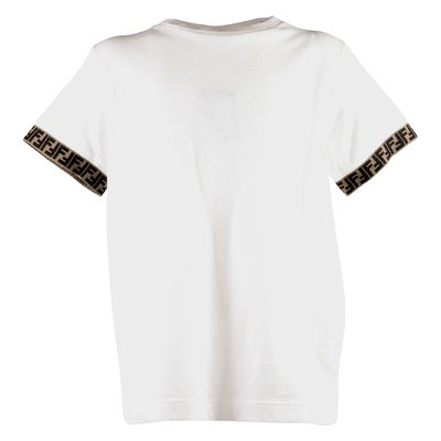White jacquard logo detail cotton jersey t-shirt