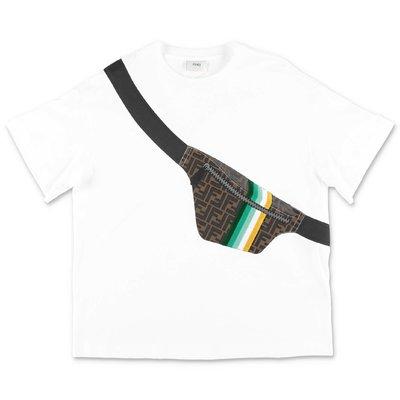 FENDI t-shirt bianca in jersey di cotone con stampa trompe l'oeil