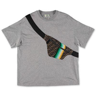 FENDI melange grey trompe l'oeil print cotton jersey t-shirt