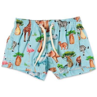 MC2 Saint Barth costume shorts da mare celeste  in cotone con stampa Jungle